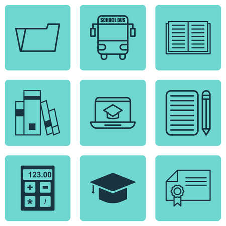 article writing: Set Of 9 School Icons. Includes Graduation, Home Work, Distance Learning And Other Symbols. Beautiful Design Elements. Illustration