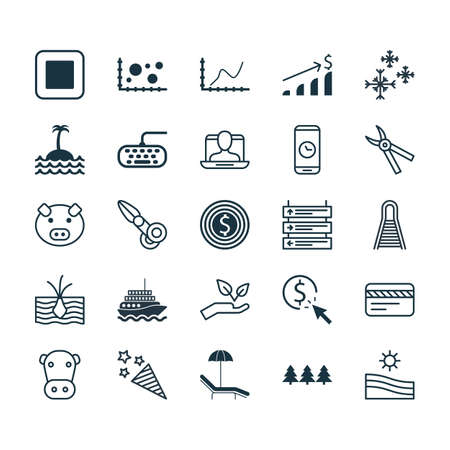 squib: Set Of 25 Universal Editable Icons. Can Be Used For Web, Mobile And App Design. Includes Elements Such As Kine, Holiday Ornament, PPC And More.