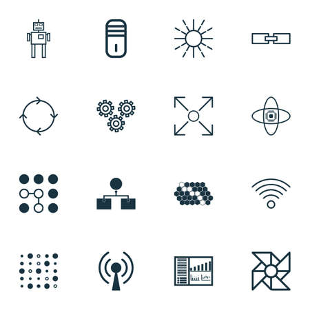 robotic transmission: Set Of 16 Machine Learning Icons. Includes Recurring Program, Related Information, Branching Program And Other Symbols. Beautiful Design Elements.