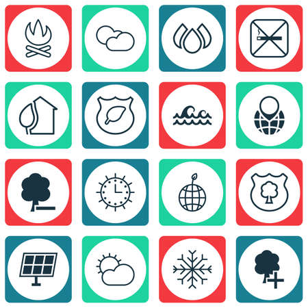 yule tide: Set Of 16 Eco-Friendly Icons. Includes Aqua, Delete Woods, Cloud Cumulus And Other Symbols. Beautiful Design Elements. Illustration