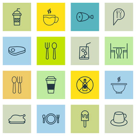 kitchen furniture: Set Of 16 Cafe Icons. Includes Fried Poultry, Coffee Cup, Mocha And Other Symbols. Beautiful Design Elements.