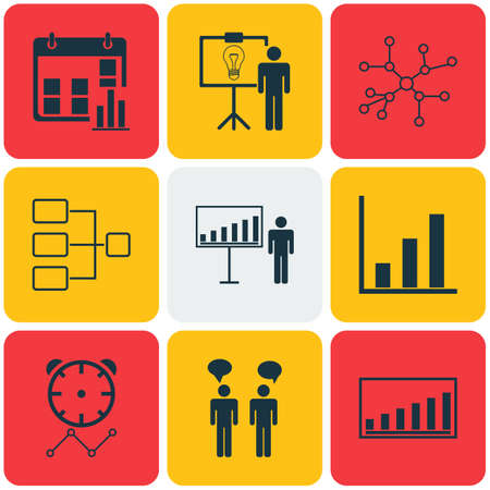 Set Of 9 Administration Icons. Includes Company Statistics, Conversation, Reminder And Other Symbols. Beautiful Design Elements. Illustration