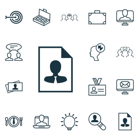 Set Of 16 Business Management Icons. Includes Portfolio, Cv, Document Suitcase And Other Symbols. Beautiful Design Elements.