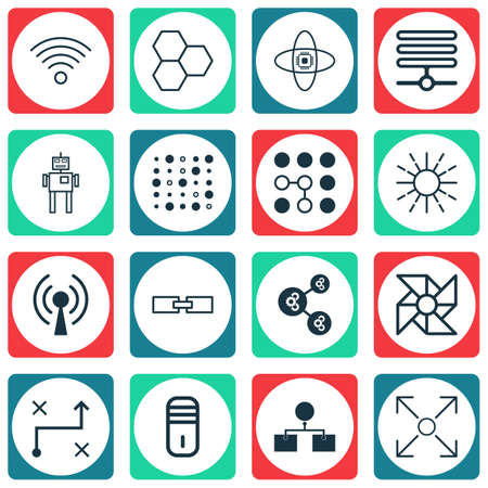 associative: Set Of 16 Robotics Icons. Includes Information Components, Lightness Mode, Radio Waves And Other Symbols. Beautiful Design Elements. Illustration
