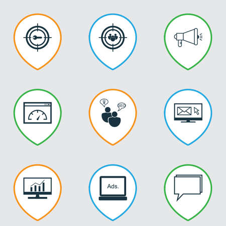 consumer society: Set Of 9 Advertising Icons. Includes Keyword Marketing, Media Campaign, Digital Media And Other Symbols. Beautiful Design Elements. Illustration