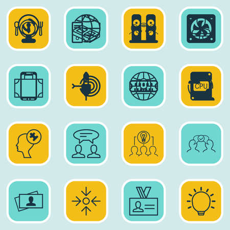 glimpse: Set Of 16 Business Management Icons. Includes Dinner, Portfolio, Human Mind And Other Symbols. Beautiful Design Elements. Illustration