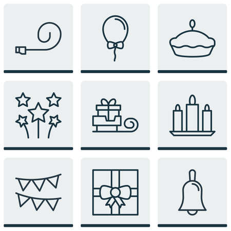 flan: Set Of 9 New Year Icons. Includes Flan, Balloon, Handbell Symbols. Beautiful Design Elements.