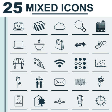 Set Of 25 Universal Editable Icons. Can Be Used For Web, Mobile And App Design. Includes Elements Such As Plot Diagram, Co-Working, Bowl And More.