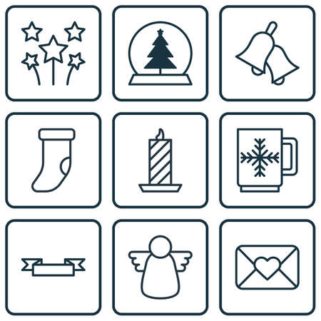 Set Of 9 Holiday Icons. Includes Ringer, Placard, Magic Sphere And Other Symbols. Beautiful Design Elements.