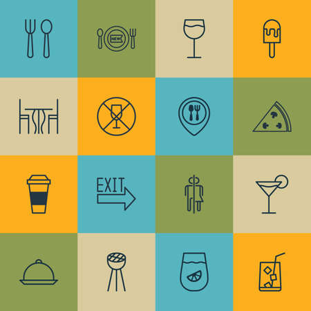 Set Of 16 Eating Icons. Includes Dining, Pepperoni, Mocha And Other Symbols. Beautiful Design Elements.