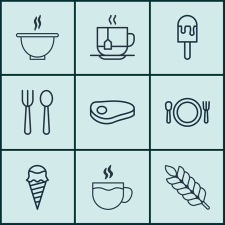 Set Of 9 Food Icons. Includes Wheat, Hot Drink, Eating House And Other Symbols. Beautiful Design Elements. Illustration