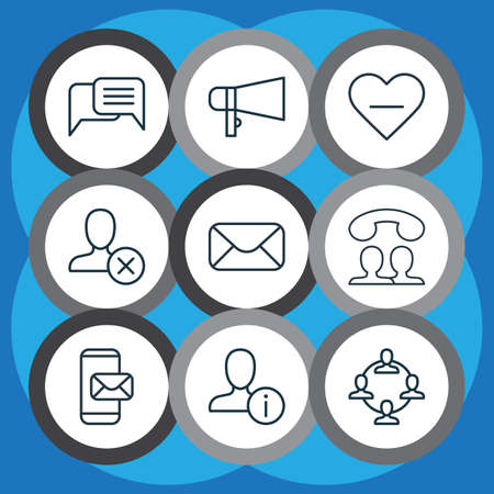 Set Of 9 Social Network Icons. Includes Message, Speaking People, Phone Messaging And Other Symbols. Beautiful Design Elements.