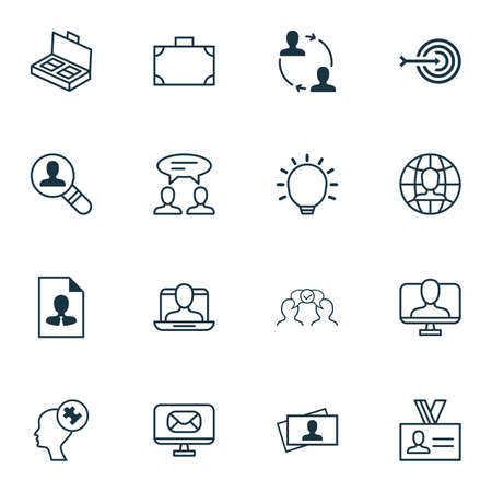 entrepreneurship: Set Of 16 Business Management Icons. Includes Human Mind, Dialogue, Portfolio And Other Symbols. Beautiful Design Elements.