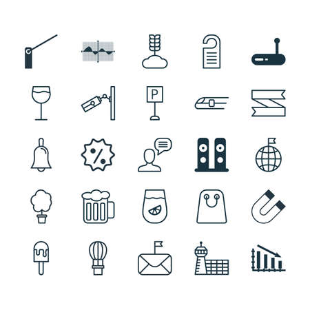 Set Of 25 Universal Editable Icons. Can Be Used For Web, Mobile And App Design. Includes Elements Such As Wood Pot, Talking Person, Lemonade And More. Ilustração