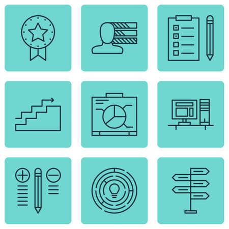 Ensemble de 9 icônes de gestion de projet. Comprend la prise de décision, les compétences personnelles, le conseil d'administration et d'autres symboles. Beaux éléments de conception. Vecteurs