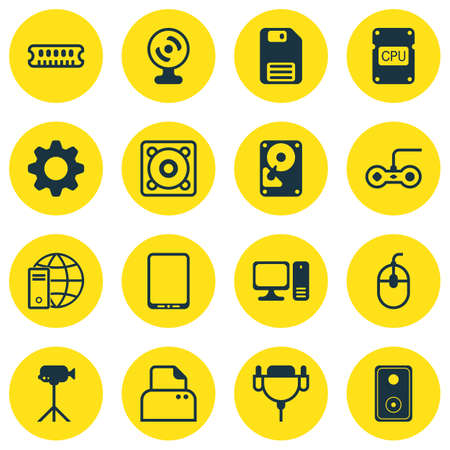 typesetter: Set Of 16 Computer Hardware Icons. Includes Cellphone, Internet Network, File Scanner And Other Symbols. Beautiful Design Elements. Illustration