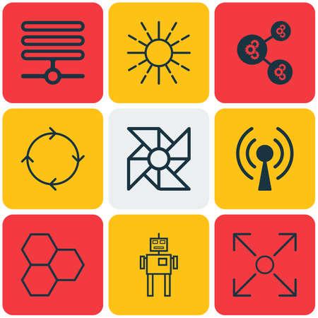 Set Of 9 Artificial Intelligence Icons. Includes Laptop Ventilator, Information Base, Cyborg And Other Symbols. Beautiful Design Elements. Illustration