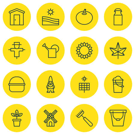 scenery set: Set Of 16 Garden Icons. Includes Package, Jug, Flowerpot And Other Symbols. Beautiful Design Elements.