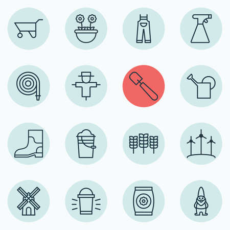 Set Of 16 Gardening Icons. Includes Sprinkler, Mill, Dwarf And Other Symbols. Beautiful Design Elements. Vector Illustration
