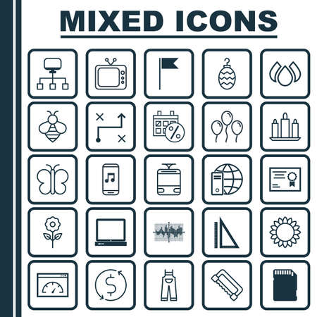 Set Of 25 Universal Editable Icons. Can Be Used For Web, Mobile And App Design. Includes Elements Such As Flag Point, Decorative Plant, Black Friday And More. Çizim