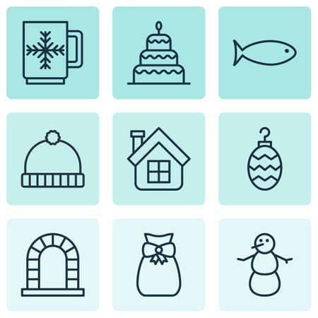 holdall: Set Of 9 New Year Icons. Includes Present Pouch, Knitted Cap, Fishing And Other Symbols. Beautiful Design Elements.