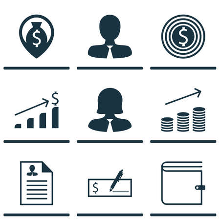 list of successful candidates: Set Of 9 Management Icons. Includes Business Goal, Business Woman, Manager And Other Symbols. Beautiful Design Elements.