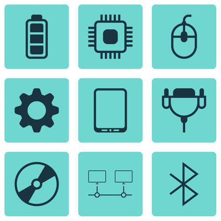 Set Of 9 Computer Hardware Icons. Includes Cellphone, Wireless Connection, Vga Cord And Other Symbols. Beautiful Design Elements.