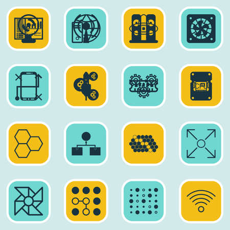 robotic transmission: Set Of 16 Machine Learning Icons. Includes Algorithm Illustration, Wireless Communications, Laptop Ventilator And Other Symbols. Beautiful Design Elements.