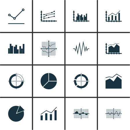electrocardiograph: Set Of Graphs, Diagrams And Statistics Icons. Premium Quality Symbol Collection. Icons Can Be Used For Web, App And UI Design. Illustration