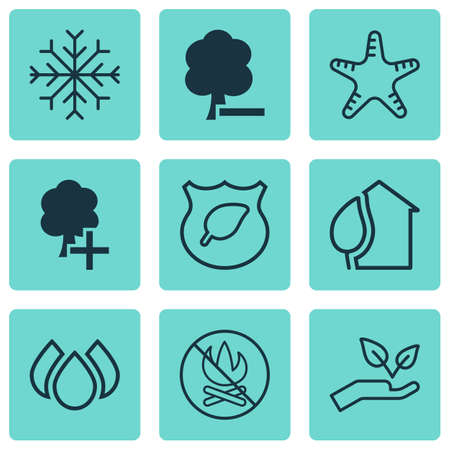 defender: Set Of 9 Eco-Friendly Icons. Includes Save World, Insert Woods, Delete Woods And Other Symbols. Beautiful Design Elements.