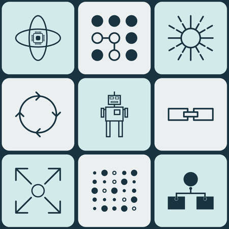 Set Of 9 Machine Learning Icons. Includes Analysis Diagram, Related Information, Lightness Mode And Other Symbols. Beautiful Design Elements. Illustration