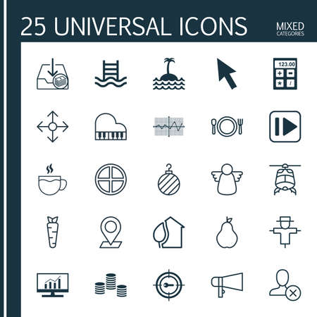 octave: Set Of 25 Universal Editable Icons. Can Be Used For Web, Mobile And App Design. Includes Elements Such As Home, Octave, Withdraw Money And More.