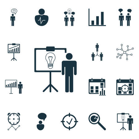 Set Of 16 Authority Icons. Includes Approved Target, Opinion Analysis, Personal Character And Other Symbols. Beautiful Design Elements.