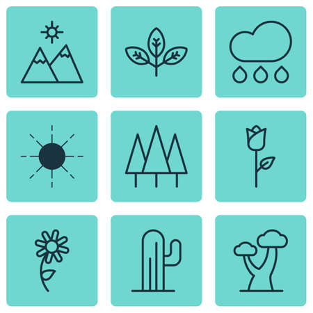 Set Of 9 Harmony Icons. Includes Forest, Sun, Oak And Other Symbols. Beautiful Design Elements. Illustration
