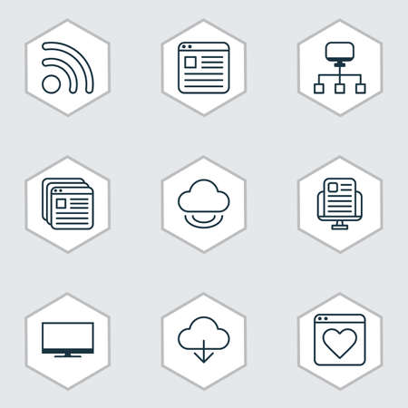 rating: Set Of 9 Internet Icons. Includes Local Connection, Display, Website Page And Other Symbols. Beautiful Design Elements.