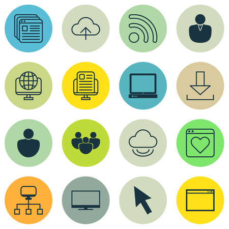 lcd: Set Of 16 Internet Icons. Includes Followed Website, Website Bookmarks, Blog Page And Other Symbols. Beautiful Design Elements. Illustration