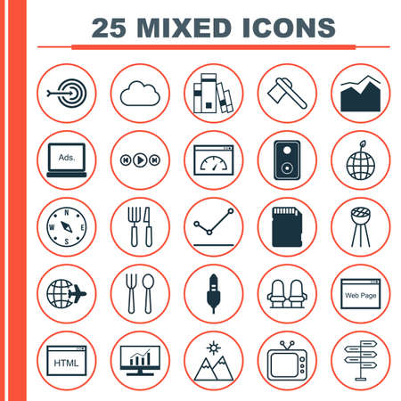 sd: Set Of 25 Universal Editable Icons. Can Be Used For Web, Mobile And App Design. Includes Elements Such As Landscape, Fork Knife, World Ecology.