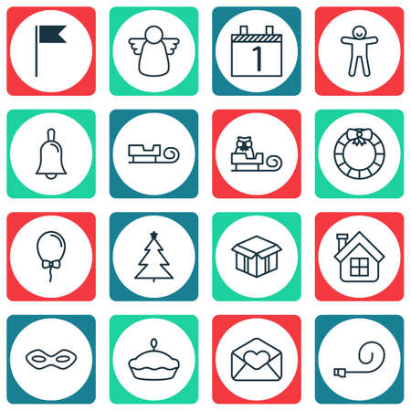 santa sleigh: Set Of 16 Holiday Icons. Includes Celebrate Whistle, Open Cardboard, Sled And Other Symbols. Beautiful Design Elements.
