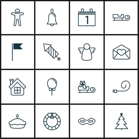 Set Of 16 Happy New Year Icons. Includes Agenda, Residential, Sleigh And Other Symbols. Beautiful Design Elements. Çizim