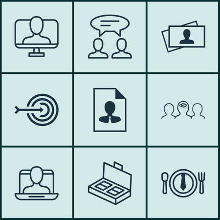 haversack: Set Of 9 Business Management Icons. Includes Calling Card, Cv, Arrow And Other Symbols. Beautiful Design Elements. Illustration
