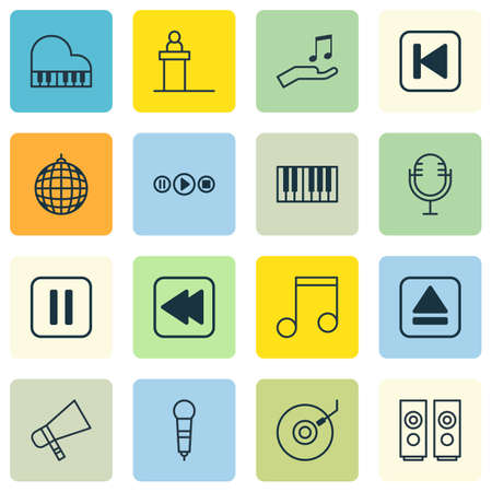 octave: Set Of 16 Music Icons. Includes Rostrum, Note Donate, Octave And Other Symbols. Beautiful Design Elements.