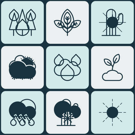 Set Of 9 Ecology Icons. Includes Cactus, Rain, Plant And Other Symbols. Beautiful Design Elements. Illustration