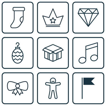 crotchets: Set Of 9 Celebration Icons. Includes Butterfly Knot, Corona, Crotchets And Other Symbols. Beautiful Design Elements.