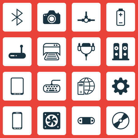Set Of 16 Computer Hardware Icons. Includes Cd-Rom, Wireless Connection, Vga Cord And Other Symbols. Beautiful Design Elements.