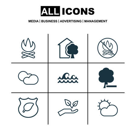 growth hot: Set Of 9 Eco Icons. Includes House, Cloud Cumulus, Fire Banned And Other Symbols. Beautiful Design Elements. Illustration