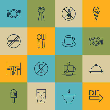 tipple: Set Of 16 Food Icons. Includes Coffee Cup, Lolly, Doorway And Other Symbols. Beautiful Design Elements.