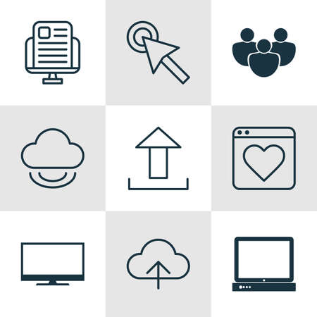 Set Of 9 World Wide Web Icons. Includes Followed Website, PC, Send Data And Other Symbols. Beautiful Design Elements.