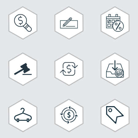 Set Of 9 E-Commerce Icons. Includes Business Inspection, Peg, Withdraw Money And Other Symbols. Beautiful Design Elements.