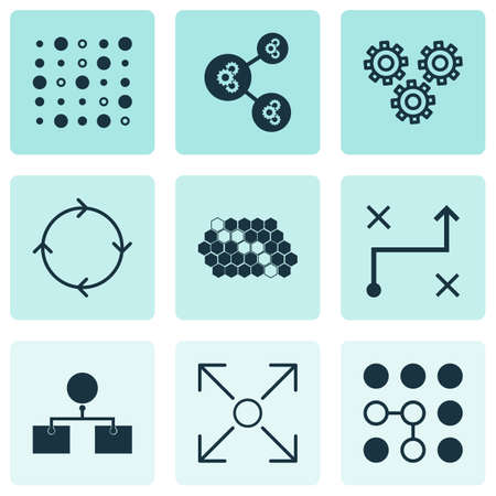 robotic transmission: Set Of 9 Machine Learning Icons. Includes Mechanism Parts, Hive Pattern, Recurring Program And Other Symbols. Beautiful Design Elements.