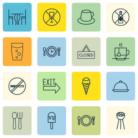 Set Of 16 Cafe Icons. Includes Dining, Hot Drink, No Drinking And Other Symbols. Beautiful Design Elements.